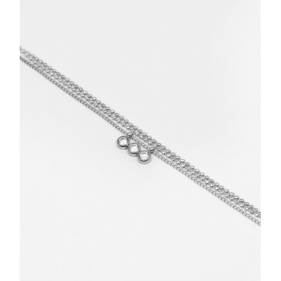 COLLIER-NECKLACE - ACIER blanc - steel white - zirconium