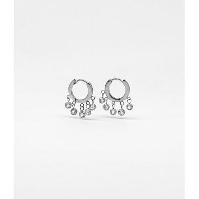 BOUCLES D OREILLES-EARRING - ACIER blanc - steel white -...