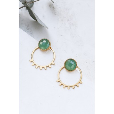 BOUCLES D'OREILLES MIYA EAR JACKETS OR + TURQUOISE