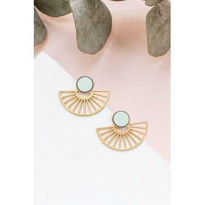 BOUCLES D'OREILLES RIM EAR JACKETS OR + AQUA