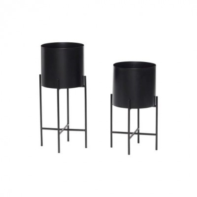 SET DE 2 POTS EN METAL NOIR