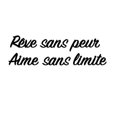 """PHRASE """"REVE SANS PEUR, AIME SANS LIMITE"""""""