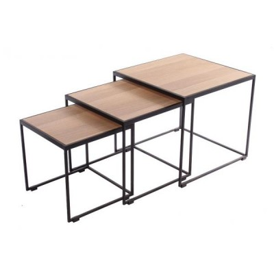 SET DE 3 TABLES BASSES RUBIC, NATUREL