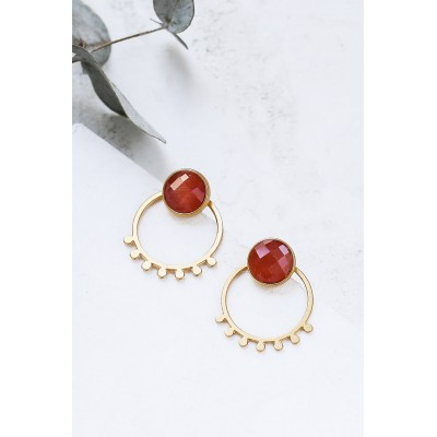 BOUCLES D'OREILLES MIYA EAR JACKETS OR + ORANGE