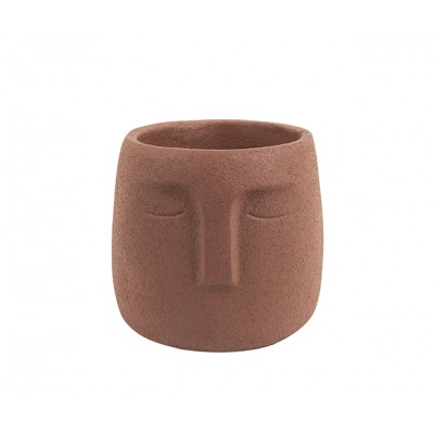 Plant Pot Face Cement Brown