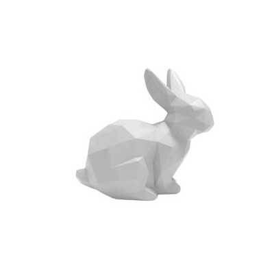 STATUE ORIGAMI LAPIN SMALL MAT BLANC