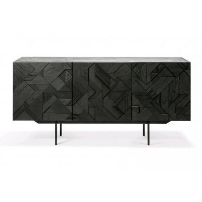 Teak Graphic black sideboard - 3 doors - varnished