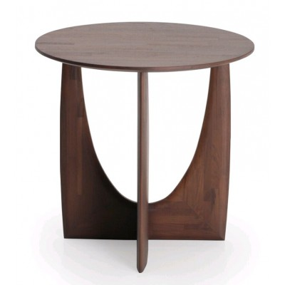 Teak Geometric brown side table - varnished