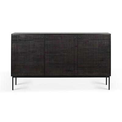 Teak Grooves black sideboard - 3 doors - varnished
