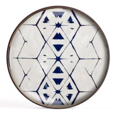 TRIBAL HEXAGON TRAY  D.48cm GLASS