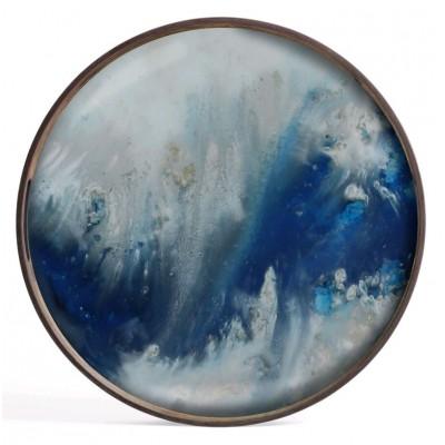 BLUE MISY ORGANIC - GLASS TRAY D.48cm
