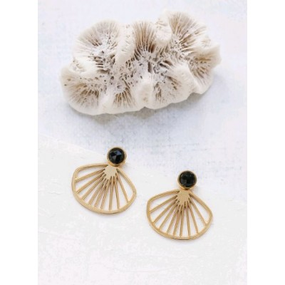 BOUCLES D'OREILLES BELIZE EAR JACKETS GOLS BLACK ONYX