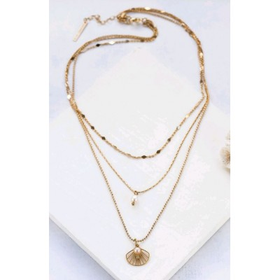 COLLIER BELIZE LAYERED NECKLACE GOLD PERLE