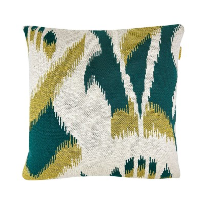 Ikat knitted cushion green