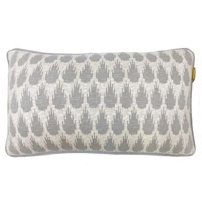 Botanic mini knitted cushion light grey