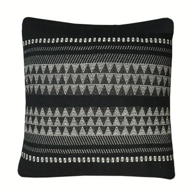Native stripe cotton black cushion 60x60cm