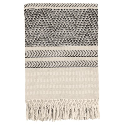 Native stripe cotton offwhite throw