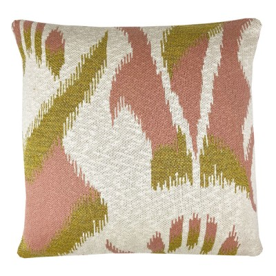 Ikat knitted cushion pink