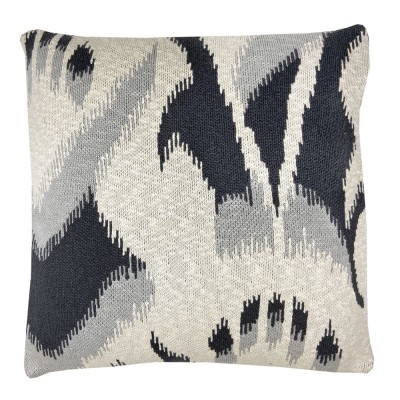 Ikat knitted cushion anthracite