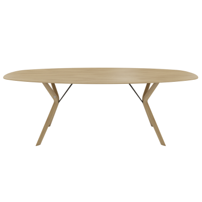 TABLE ECLIPSE CHENE MASSIF OVALE 110X220 PIED/PLATEAU E11...