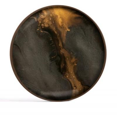 Bronze Organic glass valet tray - round - L