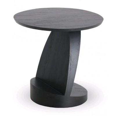 Teak Oblic black side table - varnished