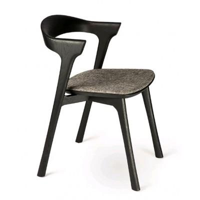 Oak Bok black dining chair - grey upholstery - varnished