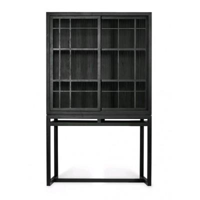 Oak Burung black storage cupboard - 2 sliding doors -...