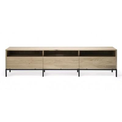 Oak Ligna TV Cupboard - 3 drawers - black metal legs