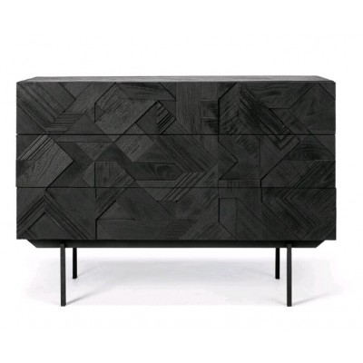 Teak Graphic black chest of drawers - 3 drawers - varnished