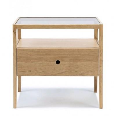 Oak Spindle bedside table - 1 drawer - varnished