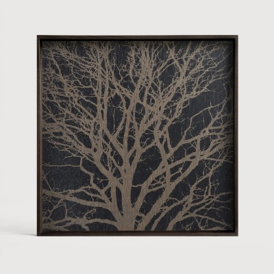 Black Tree wooden tray - square - S