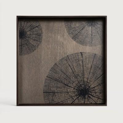 Black Slices wooden tray - square - L